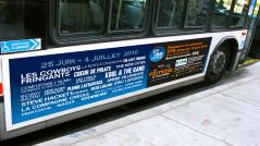 Impression directement sur styrène pour les panneaux sur les côtés d'autobus pour le Festivoix.
