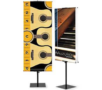 Porte-bannière économique en métal télescopique de type Avantage. Simple ou double face.