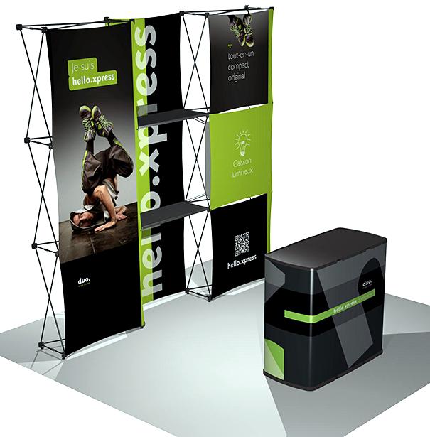 Stand portatif pop-up en tissus de type Duo Hello Xpress. Fabriqué en France.